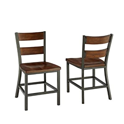 "Home Styles 5411-802 Cabin Creek Pair of Dining Chairs, 18"" W, 22-1/4"" D, 34' H, Chestnut - Each piece is physically distressed by hand Heavily distressed multi-step chestnut finish featuring worm holes, fly specking, small indentations and season splitting Hammered metal look finished frame - kitchen-dining-room-furniture, kitchen-dining-room, kitchen-dining-room-chairs - 41nwKyrc5qL. SS400  -"