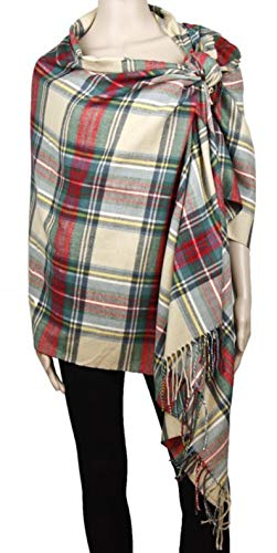 2PLY 100% Cashmere Blanket Oversized Scarf Tartan Check Made in Scotland Wool Plaid