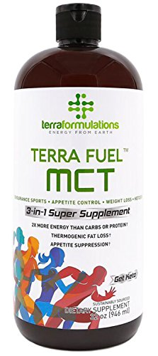 Terra Fuel MCT Oil, 70% C8 Caprylic Acid, 2X More Efficient, Best Value Amazon, 3-in-1 Ketogenic Supplement, Proven for Endurance Sports, Appetite Control, Weight Loss, 30% C10 capric 32 ()