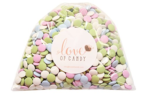 Love of Candy Bulk Candy - Assorted Pastel Mint Chocolate Lentils - 1lb Bag