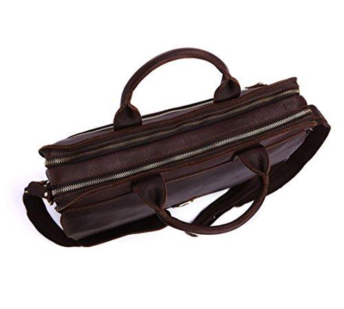 BESTAR Antiken und Strenge Aktenkoffer echtes Leder echtes Leder Inspiration Vintage Schultertasche für-PC dunkelbraun dunkelbraun