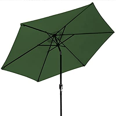 Sorbus Outdoor Umbrella, 10 ft Patio Umbrella with Tilt Adjustment and Crank Lift Handle, Perfect for Backyard, Patio, Deck, Poolside, and more (Green) - 10 FT OUTDOOR UMBRELLA - Stay cool and comfortable outdoors with a beautiful patio umbrella, perfect for shade coverage- Features classic crank operation with adjustable tilt function (NOTE: Umbrella BASE NOT Included) EASY CRANK LIFT SYSTEM - Smooth crank lift handle located on support pole opens/closes umbrella - Easy set-up and take-down so you can relax within seconds - Turn crank lift handle clockwise to open and counter-clockwise to close - Quickly close the umbrella when not in use and store away for safekeeping TILTS TO BLOCK SUNLIGHT -Tilt function adjusts with simple push button - Customizes shade areas based on preference - Protects from harmful UV rays and direct sunlight exposure- Great for sunrise and sunset - Umbrella opens and tilts from the same position, so it's easy to use, without strain on the back - shades-parasols, patio-furniture, patio - 41nwLNeDMaL. SS400  -