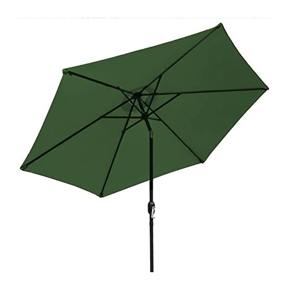 Sorbus Outdoor Umbrella, 10 ft Patio Umbrella with Tilt Adjustment and Crank Lift Handle, Perfect for Backyard, Patio, Deck, Poolside, and More (Green) - 10 FT OUTDOOR UMBRELLA - Stay cool and comfortable outdoors with a beautiful patio umbrella, perfect for shade coverage- Features classic crank operation with adjustable tilt function (NOTE: Umbrella BASE NOT Included) EASY CRANK LIFT SYSTEM - Smooth crank lift handle located on support pole opens/closes umbrella - Easy set-up and take-down so you can relax within seconds - Turn crank lift handle clockwise to open and counter-clockwise to close - Quickly close the umbrella when not in use and store away for safekeeping TILTS TO BLOCK SUNLIGHT -Tilt function adjusts with simple push button - Customizes shade areas based on preference - Protects from harmful UV rays and direct sunlight exposure- Great for sunrise and sunset - Umbrella opens and tilts from the same position, so it's easy to use, without strain on the back - shades-parasols, patio-furniture, patio - 41nwLNeDMaL. SS570  -