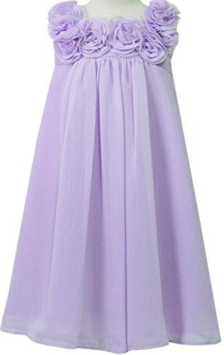 Chiffon Baby Doll Gown (Little Girls Elegant Chiffon Floral Baby Doll Flowers Girls Dresses Lilac 4)