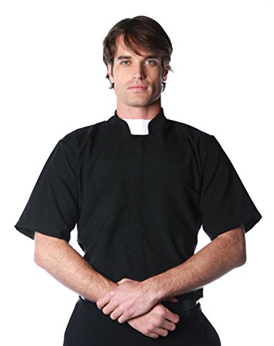 [Underwraps Costumes Men's Priest Costume - Short Sleeve Shirt, Black/White, X-Large] (Priest Halloween Costume Deluxe)