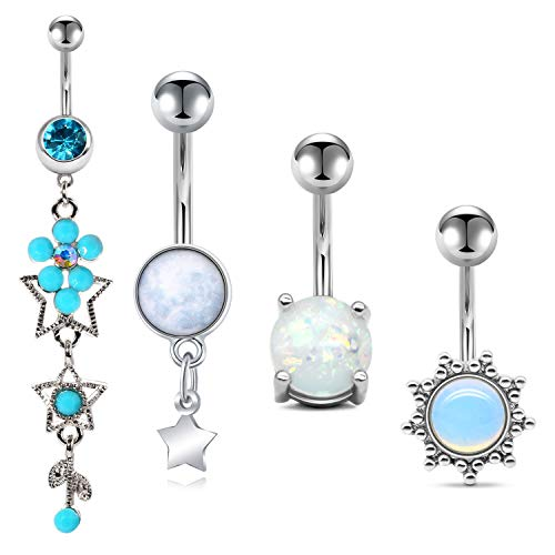 """QWALIT 14G Belly Button Rings Navel Rings Surgical Steel Dangle Navel Piercing Kit Curved Barbell for Women Girls Short Belly Button Piercing Bar Body Jewelry 3/8"""" 10mm 4pcs"""