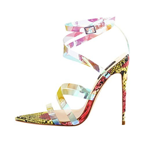 Onlymaker Womens Iridescent Clear Criss Cross Snake Pointed Open Toe Sandals High Heel Fashion Summer Party Shoes US - Multi Cross Color