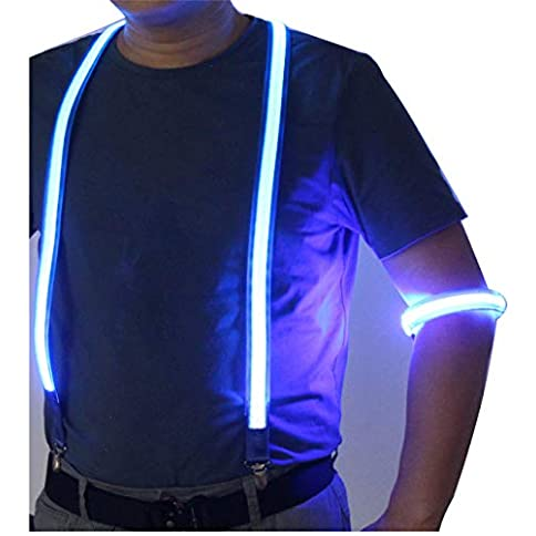 - 41nwLyNxfTL - LED Suspenders with LED Armbands Set Neon Glow for Costume Men&Women Night Running/Concerts/Rave Party