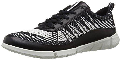 Ecco Donna Intrecciata Sneaker Moda In Maglia Nera / Bianca