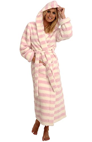 Alexander Del Rossa Womens Fleece Robe, Long Plush Hooded Bathrobe, 1X 2X Cream and Pink Striped (A0304P102X)