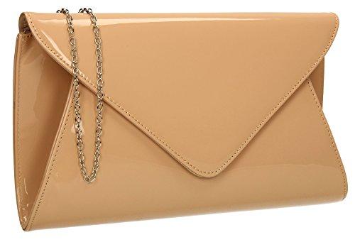 Pennie Patent Leather Designer Ladies Clutch Bag Bridal Party Envelope Designer Women Evening Bags UK - Nude by SwankySwans