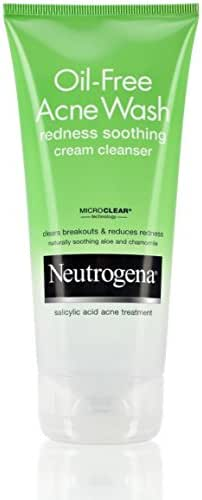 Neutrogena Oil-Free Acne Face Wash Redness Soothing Cream Facial Cleanser with Salicylic Acid Acne Medicine, 6 fl. oz (Pack of 2)