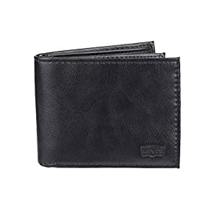 Levi's Men's Slim Bifold Wallet – Genuine Leather Casual Thin Slimfold with Extra Capacity and ID Window