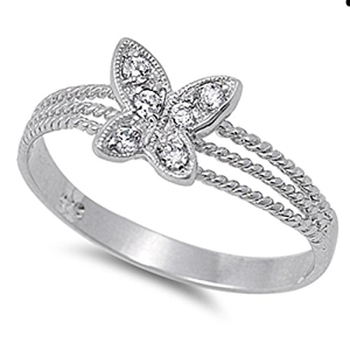 Sterling Silver Women's Flawless Colorless Cubic Zirconia Bali Rope Design Butterfly Ring (Sizes 4-10) (Ring Size 7)
