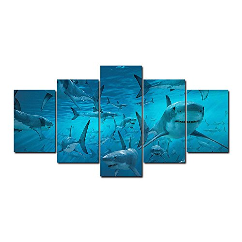 AT5468 Sharks Underwater Animal Canvas