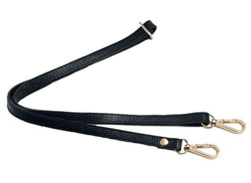 - 12MM Width Leather Adjustable Length Replacement Cross Body Purse Handbag Bag Shoulder Bag Wallet Strap (Black)