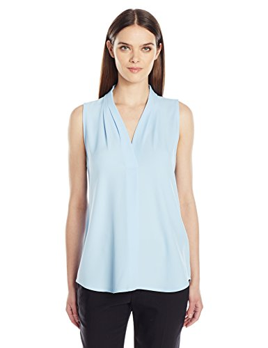 Calvin Klein Women's Sleeveless Inverted Pleat Blouse, Iceberg, L