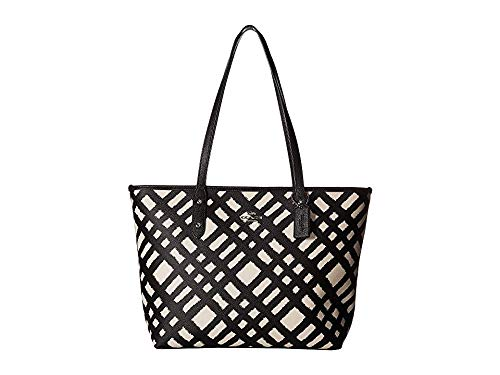 COACH Women's Wild Plaid City Zip Tote Sv/Chalk Black Multi One Size