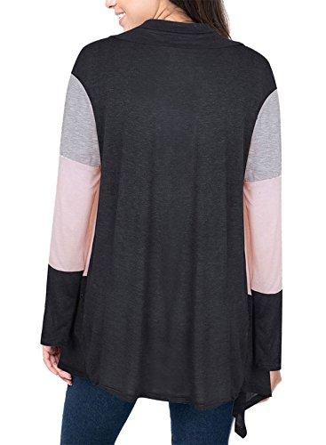 Lunga Manica Top Blusa Unique Casual Moda Cardigan Classica Tunica Nero Irregolare Autunno Abbigliamento Baggy Elegante Orlare Donna colori misti giuntura Giubbotto z8nP8SEcft