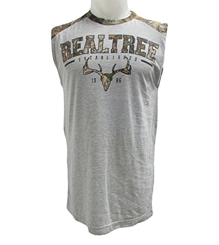 Realtree Gray and Camo Logo Muscle Sleeveless Shirt (M) ()