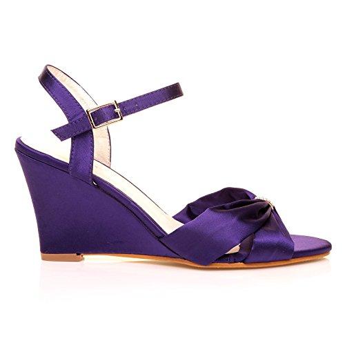 ShuWish UK - Angel Chaussures Nuptiale A Sangle Satin Violet Talon Haut Compensé Satin Violet S9Ki7Cspq