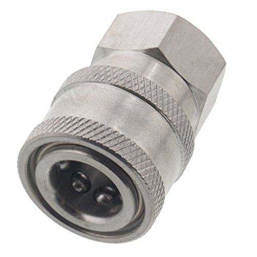 Erie Tools Pressure Washer 1/4 Female NPT to Quick Connect Socket Stainless Steel Coupler, High Temp, 5000 PSI, 10.5 GPM (Coupling 1/4 Male)