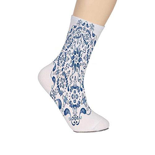 TecBillion Mandala Soft Mid Calf Length Socks,Eastern Ottoman Mosaic Ceramic Style Artsy Round Shape with Birds Baroque Socks for Men Women