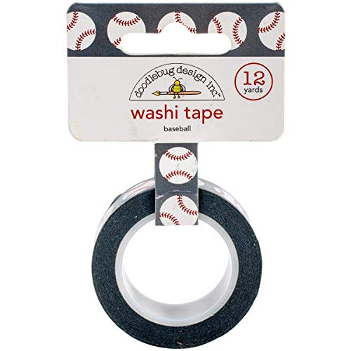 DOODLEBUG Baseballs-Home Run Washi Tape, Acrylic Multicolour, 1.49x10.16x7.62 cm -