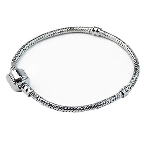 Hattfart Treasures European Charm Bracelet For Women and Girls Bead Charms, Stainless Steel Snake Chain, Extender (Silver)