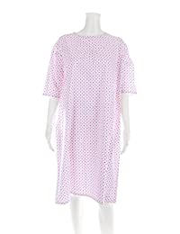 Personal Touch Women's Adaptive Flannel Backwrap Gown - White with Small Pink Flowers