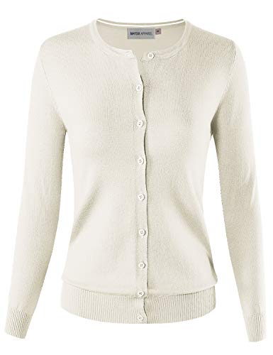 MAYSIX APPAREL Long Sleeve Lightweight Button Down Round Neck Knit Sweater Cardigan For Women IVORY ()