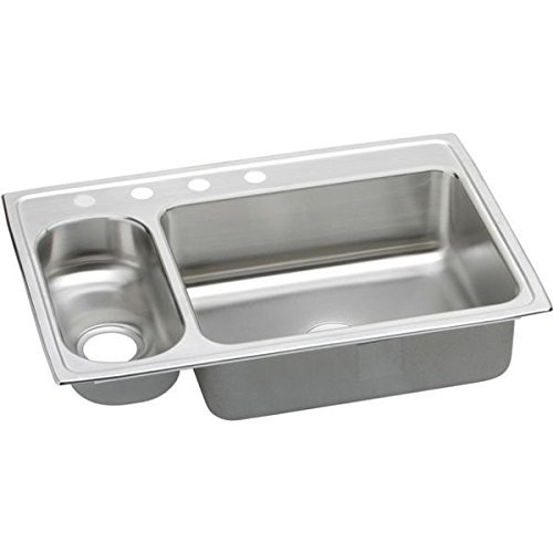 Elkay PSMR33224 Gourmet Pacemaker 4-Hole 33-Inch x 22-Inch Double Basin Top-Mount Stainless Steel Kitchen Sink by Elkay by Elkay