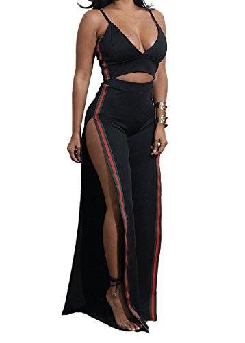 Gefemini Women's 2pc Set Outfit Crop Top and Track Pants Set Tank Top and Side Split Trousers Jumpsuit Romper