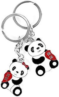 Express Panda® Llavero Pareja Panda china linda con Metal Llavero Juego de regalo de The Express Panda®