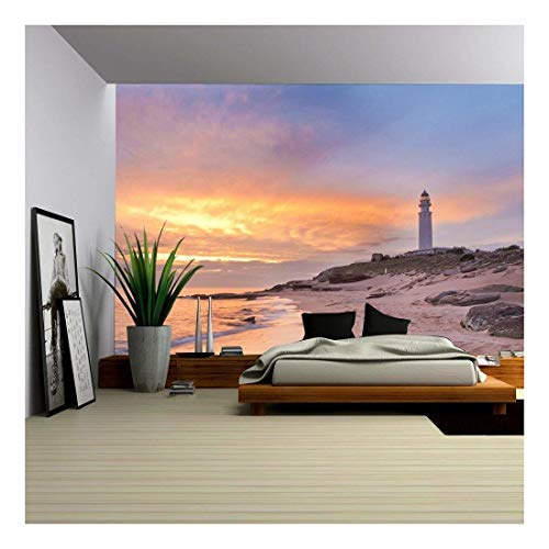 (wall26 - The Lighthouse Near Cadiz Where The Great Battle of Trafalgar Took Place. - Removable Wall Mural | Self-Adhesive Large Wallpaper - 100x144 inches)