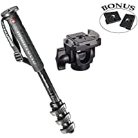 Manfrotto XPRO OVER Carbon Fiber 4 Section Monopod / 234RC Head and a Ivation Replacement Quick Release Plates for the RC2 Rapid Connect Adapter