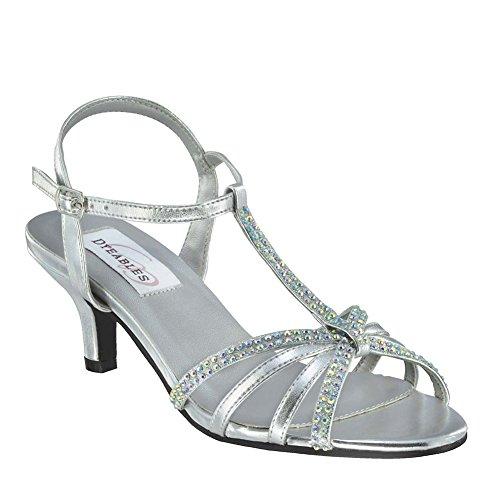 Dyeables Lindsey Womens Silver Metallic Sandals 6.5 EW TpeZ8F9Zxn