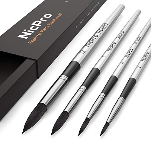 Nicpro 4 PCS Professional Watercolor Paint Brush Set, Artist Squirrel Paint Brushes Round for Painting Gouache ()