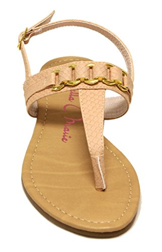Bella Marie Basic-2 Dames Snake Pu String Teen T-strap Met Gouden Decor Buckled Enkelbandje Sandalen Blush
