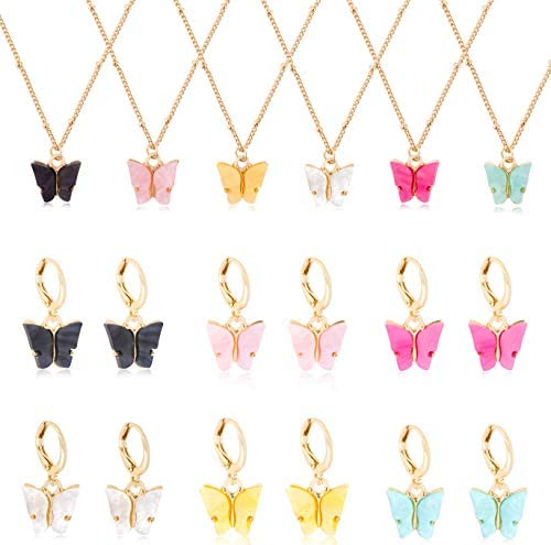 FIBO STEEL 6 Pairs Butterfly Earrings 6 Pcs Necklace Set for Women Colorful Acrylic Drop Earrings Cute Pendant Necklace Jewelry Set