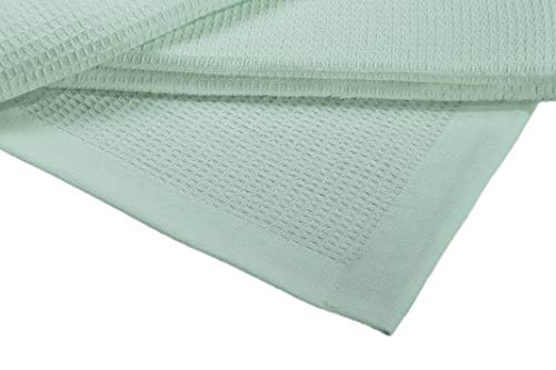 Crover Collection All Season Thermal Waffle Cotton King Blanket 108x90 Misty Green with Deep Plain Edge Border Durable and Soft