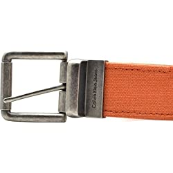 Calvin Klein Mens Jeans Belt, Casual Reversible Belt Orange/brown 32