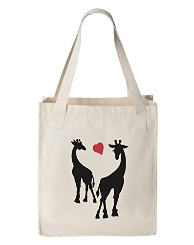 Giraffes Cute Couple Canvas Tote Bag, Organic Cotton, Natural by Gbond Apparel