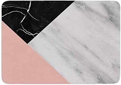 Cafelab Marble Collage with Pale Pink Memory Foam Bath Mat Pink Single Piece