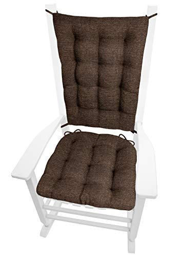 Barnett Home Decor Brisbane Brown Rocking Chair Cushions - Extra-Large - Latex Foam Filled Seat Cushion & Backrest Pad with Ties - Reversible - Made in USA - XL