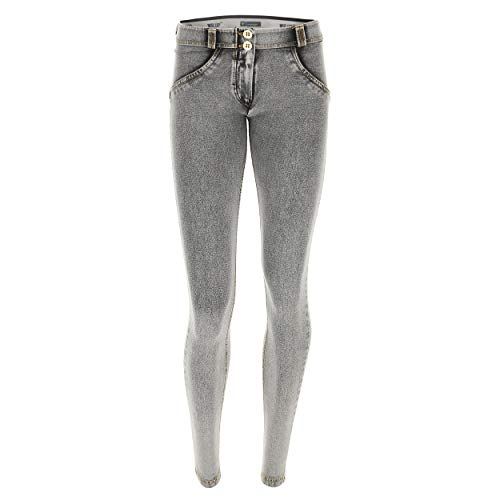 Lavaggio Bassa Pantalone cuciture Freddy up® Gialle Chiaro Effetto Wr Grigio Jeans Denim Vita wZ0wq4
