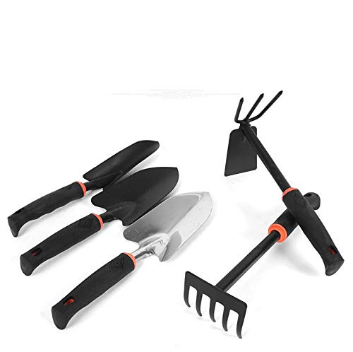 Asvert Garden Tool Set-5 Pieces Softouch Gardening Tools with Soft Rubberized Non-Slip Handle Transplanting Spade, Trowel, Rake, Cultivator, Weeder Black Gift for Man Woman Mini