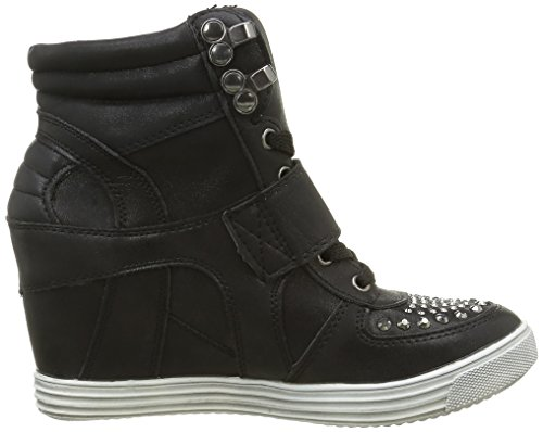 Zapatillas compensar aumento de diamantes de imitación de tacón 7cm negro