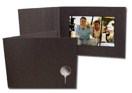 Golf silver-foil design on black cardboard photo folder Our price is for 50 units - 4x6