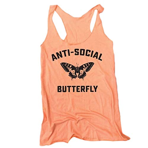 Aunimeifly Women's Alphabet Letter Print Tank Tops Sleeveless Shirt Round Casual Loose Neck Vest Orange